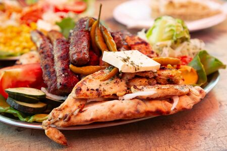 Barbecue at local restaurant in Mostar, Bosnia and Herzegovina Stockfoto