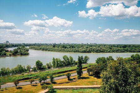 Kalemegdan Fortress park and Sava river in Belgrade, Serbia