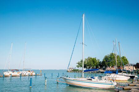 lake Balaton and harbor in Balatonfured, Hungary