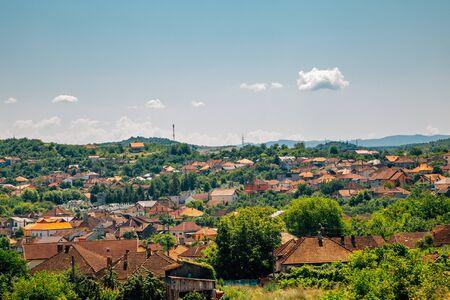 Hunedoara old city view from Medieval Corvin Castle (Hunyad Castle) in Hunedoara, Romania Stock Photo
