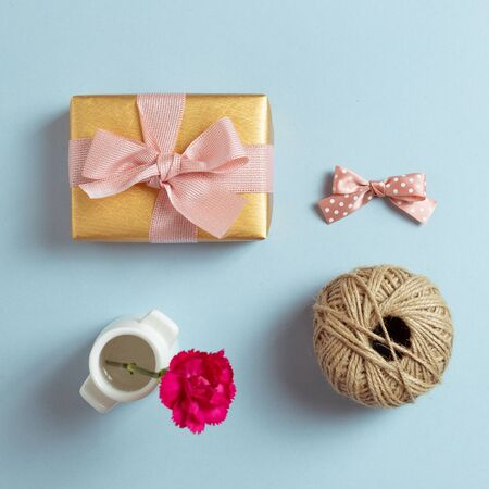 Gift wrapping and decoration concept. Flat lay, top view, copy space