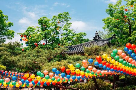 Gilsangsa temple with Buddha's Birthday colorful lanterns in Seoul, Korea 스톡 콘텐츠 - 147738515