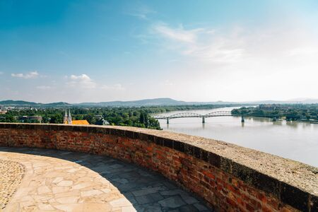 Esztergom city and Danube river panorama view in Hungary