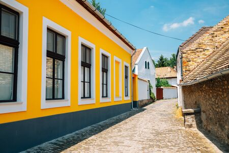 Szentendre medieval old town alley in Hungary Stok Fotoğraf