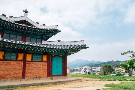 Ganghwa Anglican Catholic Church and city view in Incheon, Korea 스톡 콘텐츠 - 149849791