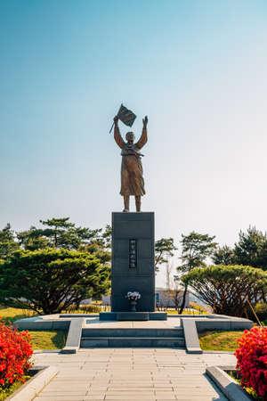 Cheonan, Korea-April 28, 2020: Yu Gwan-sun statue at Yu Gwan-sun Memorial Hall