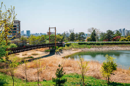 Cheonho lake park and wooden bridge in Cheonan, Korea