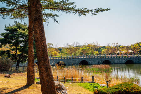 Pond and stone bridge with trees at The Independence Hall of Korea in Cheonan, Korea