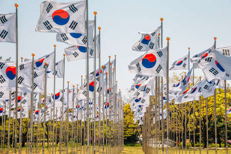 Korean national flags at The Independence Hall of Korea in Cheonan, Korea