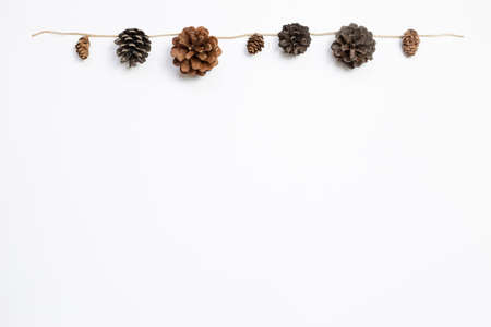 Autumn dry pine cones garland on white background. flat lay, top view, copy space 免版税图像