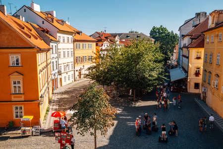 Prague, Czech Republic-August 27, 2016: Kampa island Na Kampe street old town square