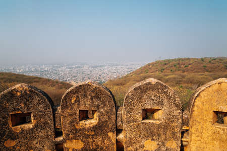 Nahargarh Fort with Jaipur city panorama view in Jaipur, India