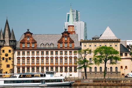 Old town Mainkai street along the Main river in Frankfurt, Germany