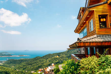 Panoramic view of Jiufen old town and seascape in Taiwan Stock Photo