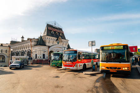 Vladivostok, Russia-September 16, 2018: Vladivostok railway station and city bus Publikacyjne