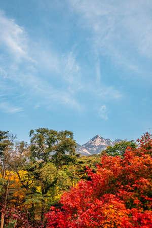 Bukhansan mountain at autumn in Seoul, Korea