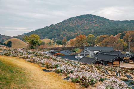 Autumn of Seoak-dong old village and ancient royal tombs in Gyeongju, Korea 新聞圖片