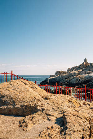 Haedong Yonggungsa Temple with blue ocean in Busan, Korea