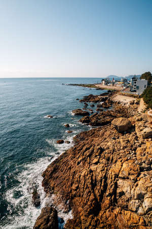 View of Cheongsapo village and blue ocean in Busan, Korea 免版税图像
