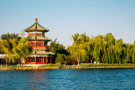 Shichahai Houhai lake and Chinese traditional pavilion in Beijing, China Stock Photo