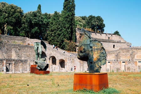 Ancient ruins of Pompeii city in Italy 免版税图像