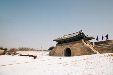 Changnyongmun. East gate of Hwaseong Fortress at winter in Suwon, Korea