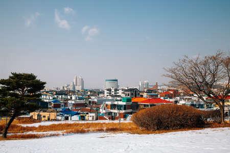 Snowy winter village in Suwon, Korea