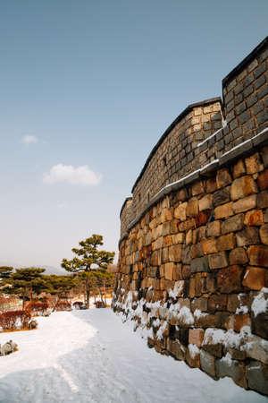 Hwaseong Fortress at winter in Suwon, Korea