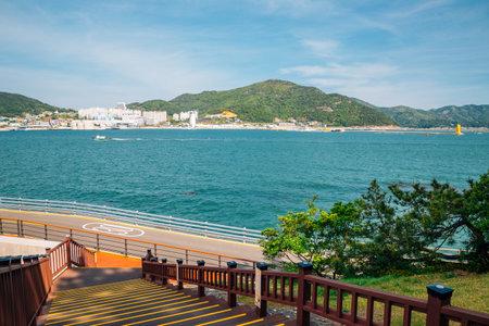 Expo park and sea from Odongdo Island in Yeosu, Korea