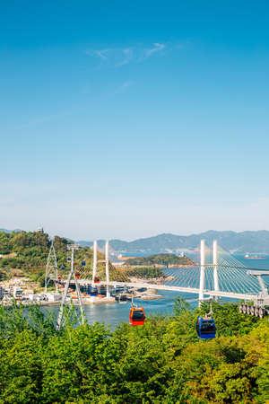 Dolsan park Geobukseon Bridge and cable car with sea in Yeosu, Korea 免版税图像 - 168681409