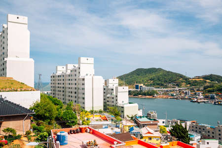 Panoramic view of Goso-dong Mural Village and sea in Yeosu, Korea