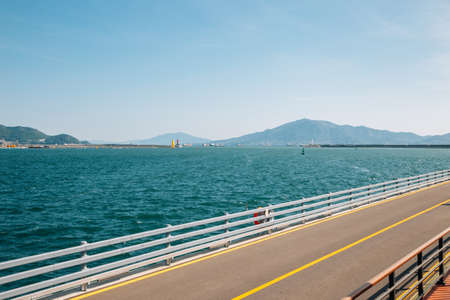 Odongdo Island road and sea in Yeosu, Korea