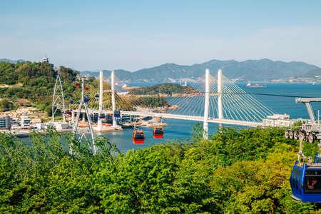 Dolsan park Geobukseon Bridge and cable car with sea in Yeosu, Korea