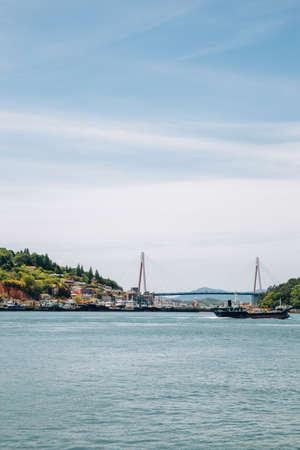 Dolsan bridge and seaside village in Yeosu, Korea