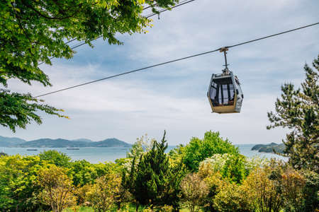 Jasan Park cable car and sea view in Yeosu, Korea 免版税图像