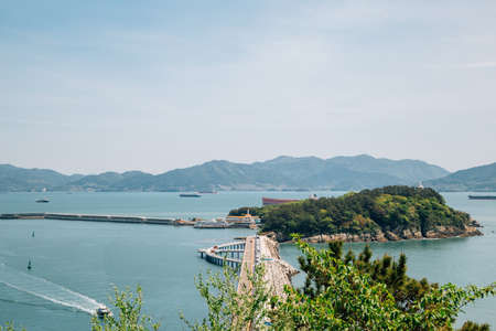 View of Odongdo Island and sea from Jasan Park in Yeosu, Korea