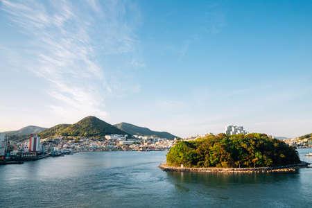 View of sea village in Yeosu, Korea 免版税图像