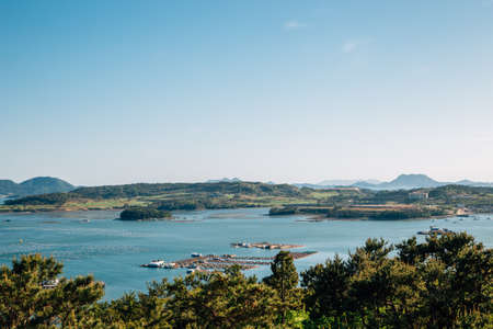View of sea and island from Dolsan park in Yeosu, Korea