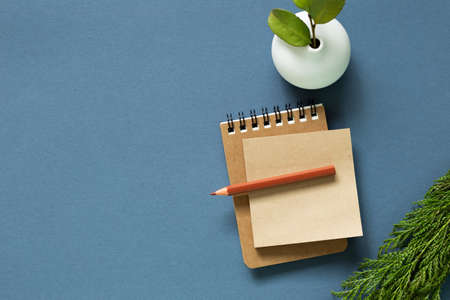 Notebook and colored pencil and vase of plant on desk. navy blue background. flat lay, top view, copy space 免版税图像