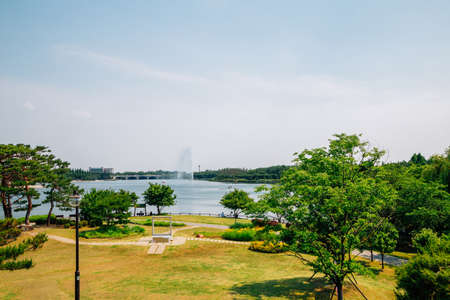 View of Ilsan Lake Park in Goyang, Korea 免版税图像