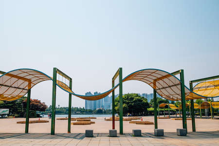 Ilsan Lake Park and modern buildings in Goyang, Korea