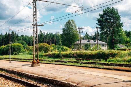 Kemeri railway station platform and countryside village in Latvia