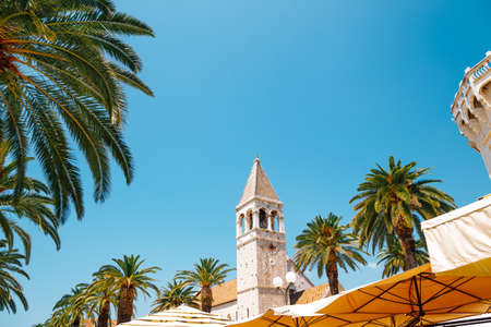 Trogir old town street and palm trees in Croatia