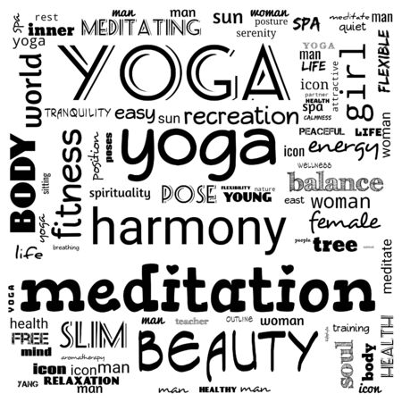 motivation yoga word cloud, word cloud use for banner, painting, motivation, web-page, website background, t-shirt & shirt printing, poster, gritting (illustration) Reklamní fotografie
