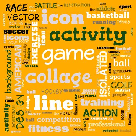 collage sports word cloud green background, all sports, this contain use as banner, painting, motivation, web-page, website background, t-shirt, shirt, print, poster, gritting, wallpaper, illustration