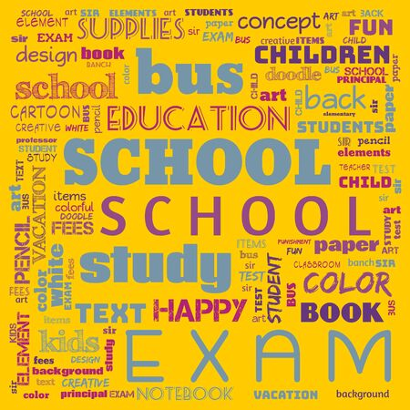 back to the school word cloud, word cloud for school life, this word cloud use for banner, painting, motivation, web-page, website background, t-shirt, shirt, print, poster, gritting, illustration. Zdjęcie Seryjne