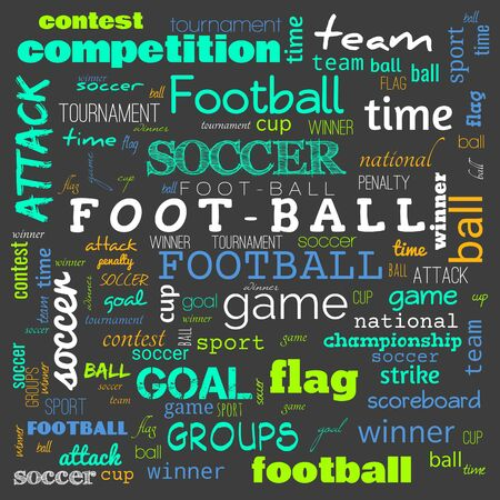 foot ball word cloud,text,word cloud use for banner, painting, motivation, web-page, website background, t-shirt & shirt printing, poster, gritting (illustration)