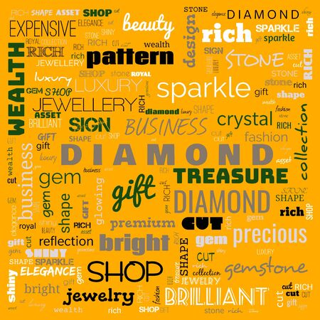diamond word cloud,text, word cloud use for banner, painting, motivation, web-page, website background, t-shirt & shirt printing, poster, gritting, wallpaper (illustration) Zdjęcie Seryjne