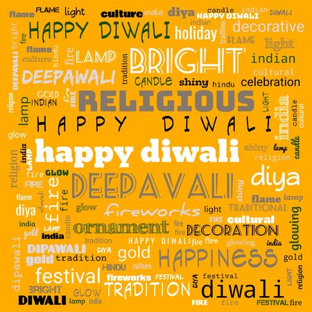 happy diwali word cloud,happy diwali text, cloud use for banner, painting, motivation, web-page, website background, t-shirt & shirt printing, poster, gritting (illustration) Reklamní fotografie