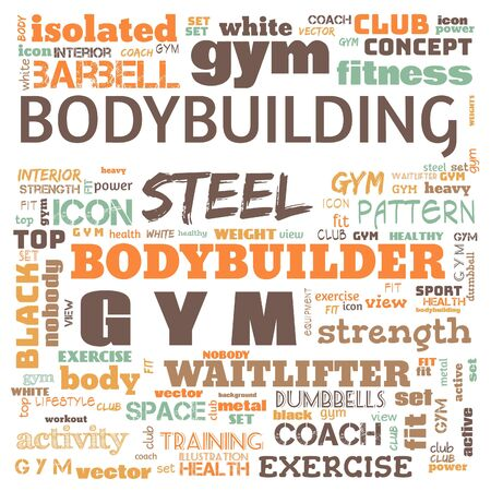 gym, body building, weight lifting, sports word cloud, this word cloud use as banner, painting, motivation, web-page, website background, t-shirt, shirt, print, poster, gritting, illustration. Stock fotó